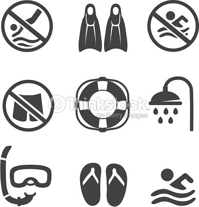 Swimming pool icons diving mask flippers and shower sport for Normas de piscina