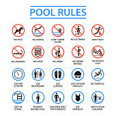 Swimming pool rules. Public and private pools rules to ensure health, safety and to provide enjoyable recreation. Vector flat style cartoon illustration isolated on white background