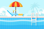 Background with Swimming Pool, Parasol and Beach Chair. Flat Design Style.