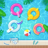 Swimming pool with colorful floats, top view vector illustration. Kids inflatable toys flamingo, duck, donut, unicorn. Summer fun background.