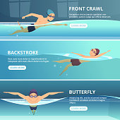 Swimming pool with swimmers. Horizontal banners with sport illustrations. Swimmer training swim, athlete exercise race