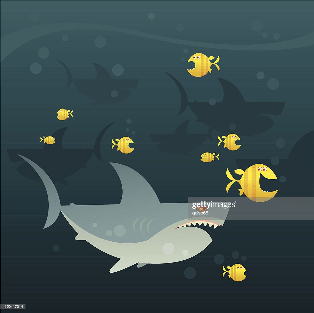 Swimming with Sharks : Vector Art