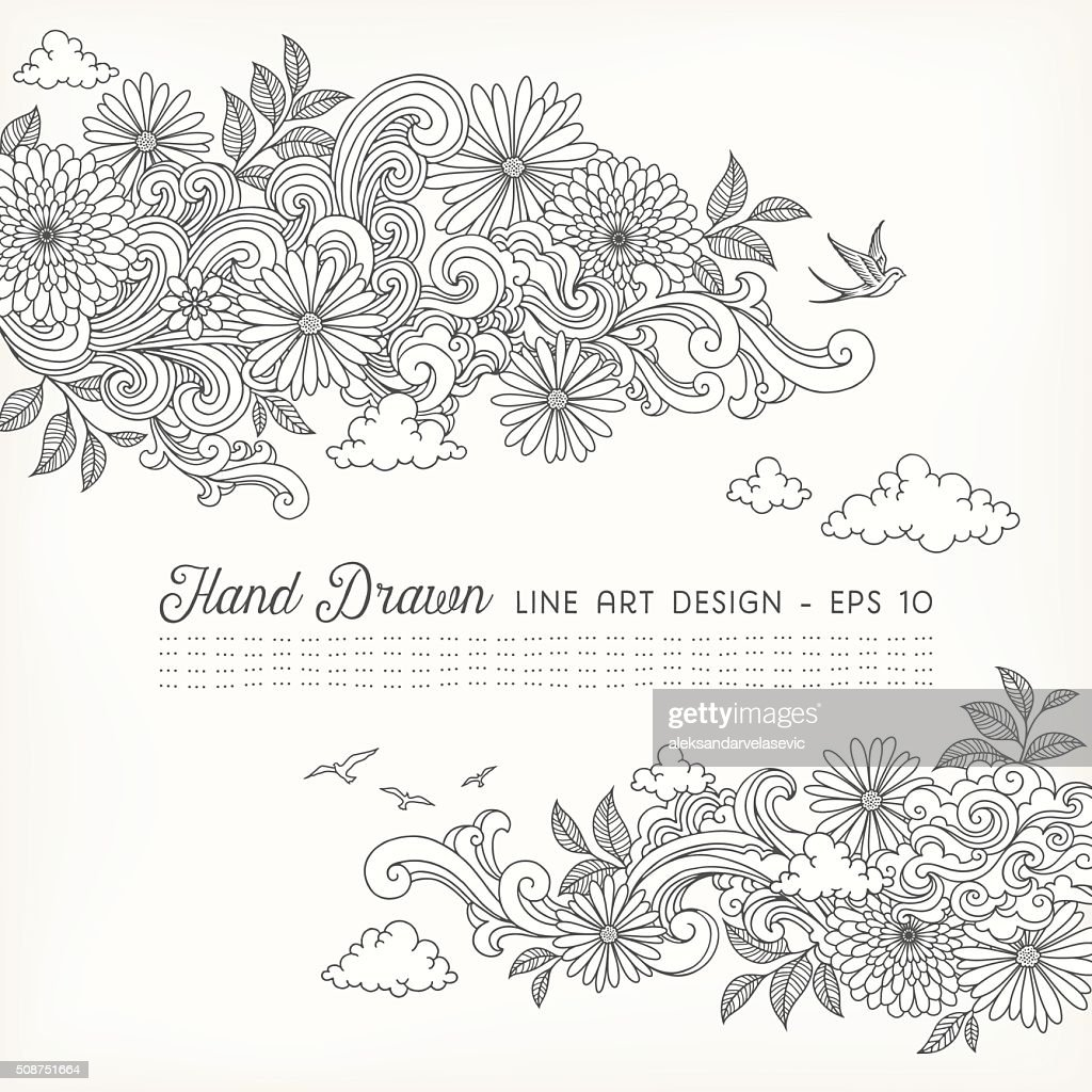 Line Art Doodles : Swirly floral line art doodles vector getty images