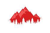 Swiss Alps vector illustration, EPS 10. Isolated beautiful symbol in red color with mountains and forest for decoration travel company.