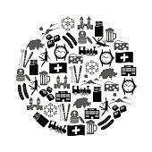 Switzerland country theme symbols icons in circle eps10