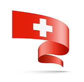 Switzerland flag in the form of wave ribbon. Vector illustration on white background.