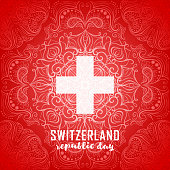 Switzerland flag. Independence Swiss national day. Switzerland republic day greeting card. Vector illustration