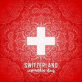 Switzerland flag. Independence Swiss national day. Switzerland republic day greeting card. Vector illustration