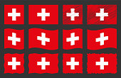 Switzerland flag, national flag of Switzerland vector set