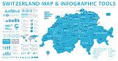 Switzerland Map - Detailed Info Graphic Vector Illustration