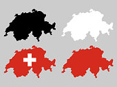 Switzerland map with national map decoration