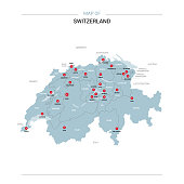 Switzerland vector map. Editable template with regions, cities, red pins and blue surface on white background.