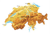 Highly detailed physical map of  Switzerland in vector