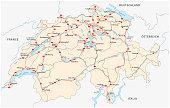 Switzerland road vector map