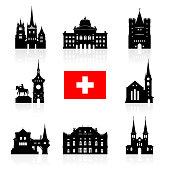 Switzerland Travel Landmarks icon set. Vector and Illustration