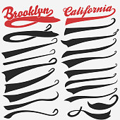 Swooshes set, Underline Swishes tail collection, highlighter marker strokes, Swashes for Athletic Typography Tshirt. Retro Swoop wave line. Vector