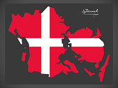 Syddanmark map of Denmark with Danish national flag illustration