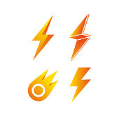 symbol in the form of lightning, a set of four options