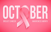 Symbol of Breast cancer awareness month in october. Realistic pink ribbon. Poster template. Vector illustration.