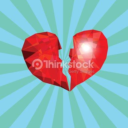 Symbol Of Broken Heart Like Diamond In Blue Background Vector Art