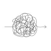 Vector symbol of complicated way with scribbled round element, chaos sign, pass the way linear arrow with clew or tangle ball in center