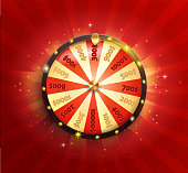 Symbol of spinning wheel in realistic style. Shiny lucky roulette for your design on red glowing sunburst background. Vector illustration.