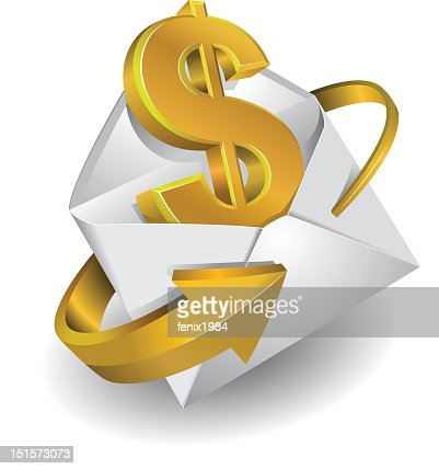 symbol of the dollar in envelope