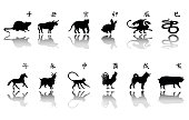 Symbol of the year silhouette set. Chinese horoscope icons