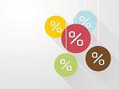 symbol percent discounts with long shadows