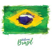 Symbol, poster, banner Brazil. Flag of Brazil with the decoration of the national symbol and color. Style watercolor drawing.  Vector illustration.