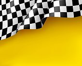 Symbol racing canvas realistic yellow background. Flag upright, sign marking start and finish. Vector illustration