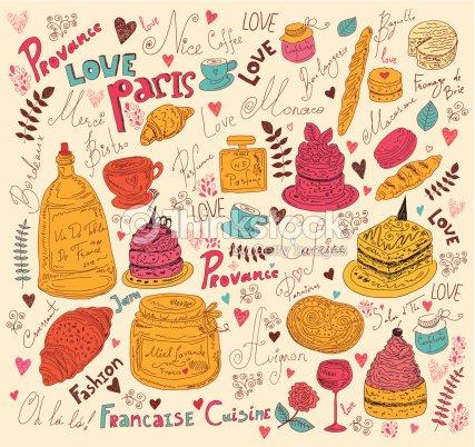 Symboles de la cuisine française : Clipart vectoriel