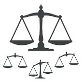 Vector image of silhouette weight scales. Close-up of justice balance icons over white background. Creative art is representing symbol of justice.