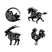 Symbols of the Chinese horoscope. Horse, rooster, rat, goat.