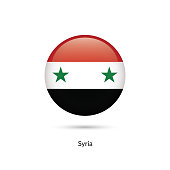 Syria flag - round glossy button. Vector Illustration.