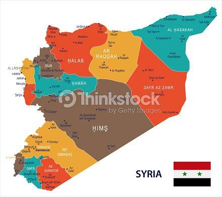 Siria Mapa Y Bandera De Detallada Ilustración Vectorial Arte