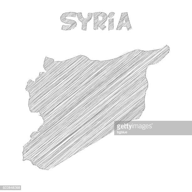 Syria map hand drawn on white background