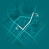 GPS system concept. Blue city map with route markers. Vector illustration