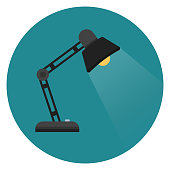 Illustration in flat style. Round icon with long shadow.
