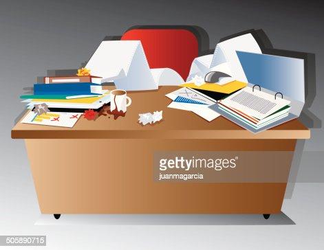table en d sordre bureau apr s les heures de travail clipart vectoriel getty images. Black Bedroom Furniture Sets. Home Design Ideas