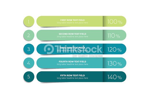 Table, schedule design template with 5 row. Vector banner. : stock vector
