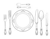Table setting set. Fork, Knife, Spoon, plate sketch set. Cutlery hand drawing collection. Catering engraved vector illustration. Restraunt service.  Banquet  still life