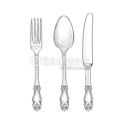 Table Setting Set Fork Knife Spoon Isolated