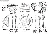 Table setting, top view. Vector hand drawn illustrations type of plate, fork, spoon, knife, wine glass with original custom font captions.