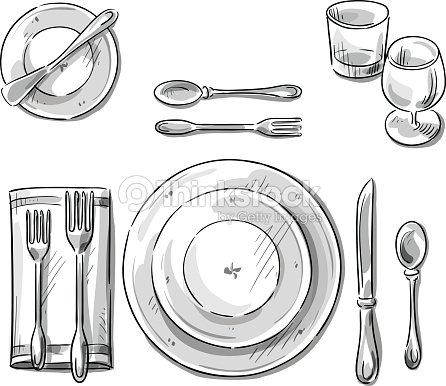 Table setting vector sketch vector art thinkstock for Utensilios de mesa