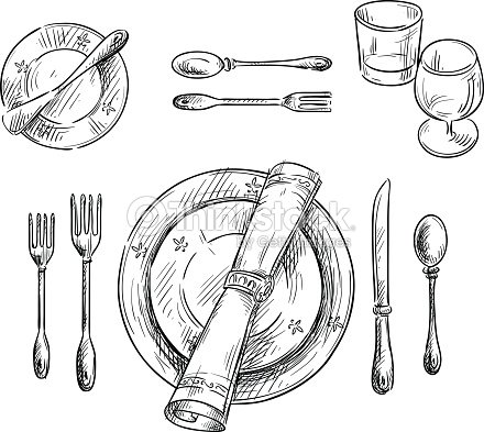 Table Setting Vector Sketch Stock Vector Thinkstock