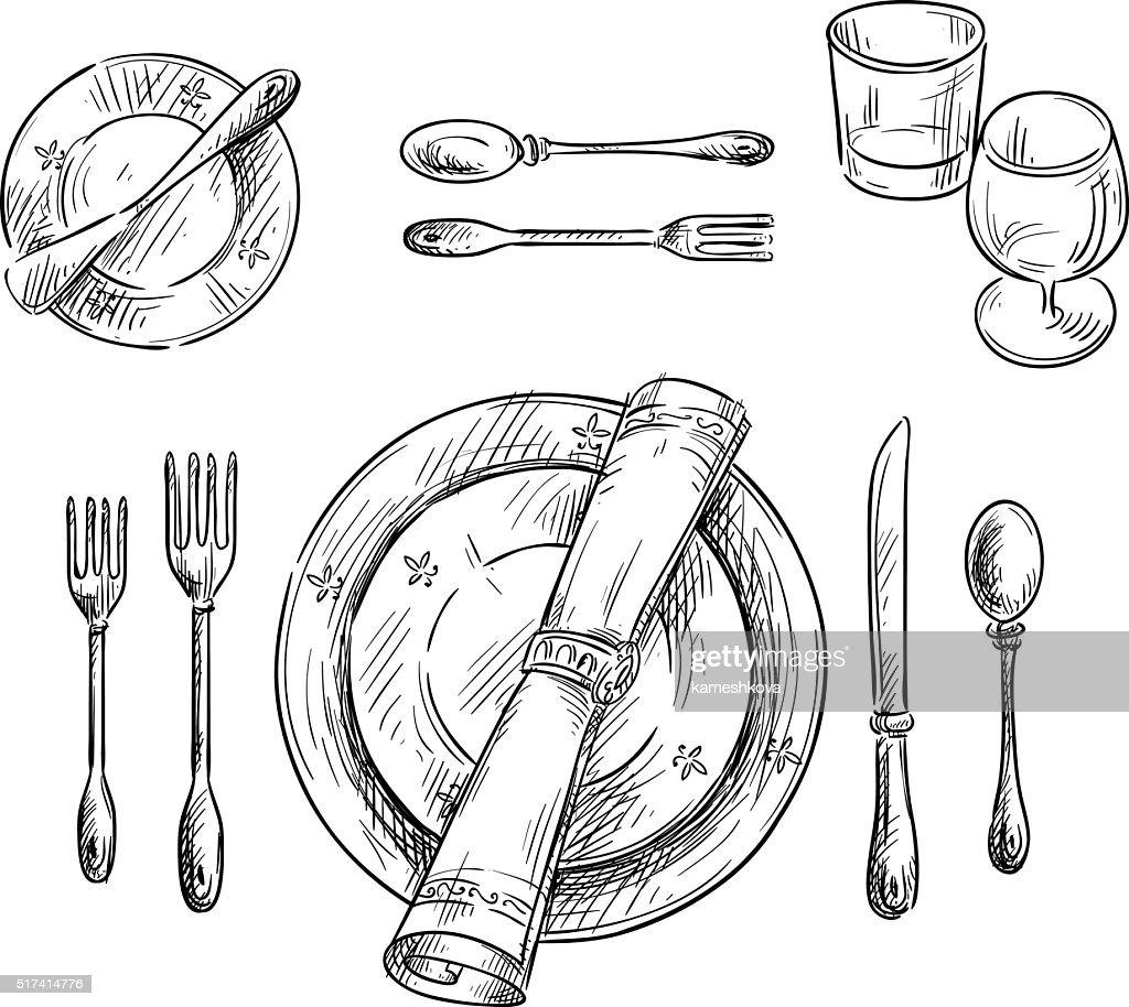 Table setting. Vector sketch.  Vector Art  sc 1 st  Thinkstock & Table Setting Vector Sketch Vector Art | Thinkstock