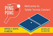 Table tennis center banner design. Isometric table for the ping pong. Vector illustration