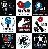 Table tennis logo. Ping pong logo.Game ping pong icons.Racket, ball ping pong icon. Wreath of the winner.Hand with the racket. Athlete plays table tennis logo. Sports logos.Summer sports game logotype