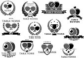 Table tennis badges for sport club or championship. Symbols of ping pong ball and racket on net, victory laurel wreath ribbon and winner cup goblet with crown of stars. Vector icons set